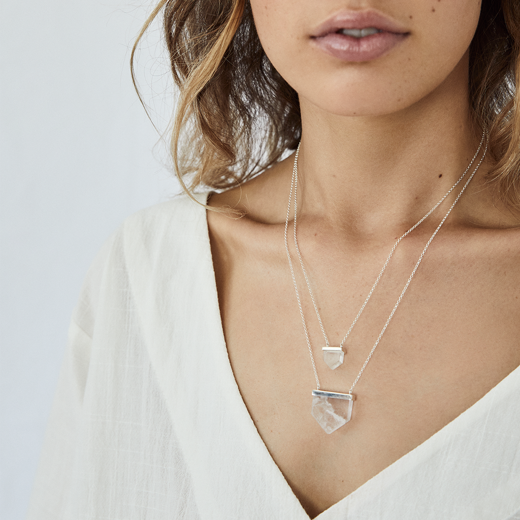 aurora crystal necklace | clear quartz crystal