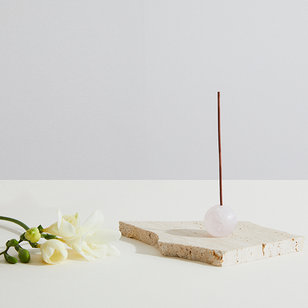 Infinite Love Rose Quartz Incense Holder | Sphere