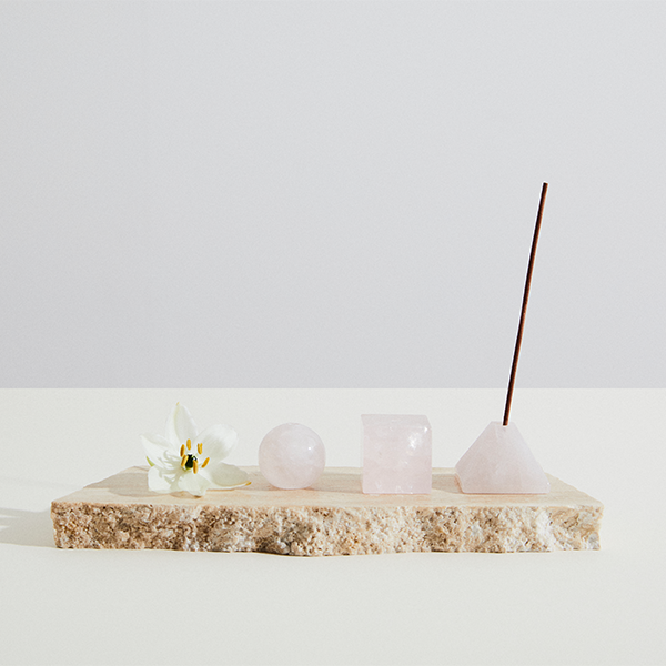 Infinite Love Rose Quartz Incense Holder | Pyramid