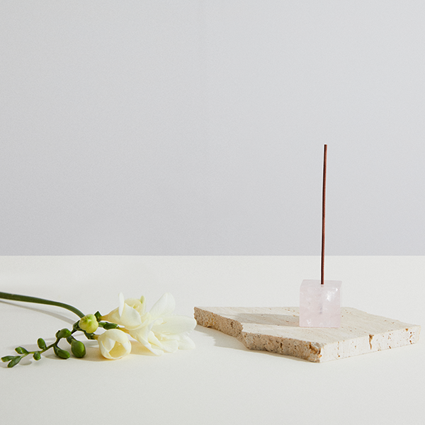 Infinite Love Rose Quartz Incense Holder | Cube