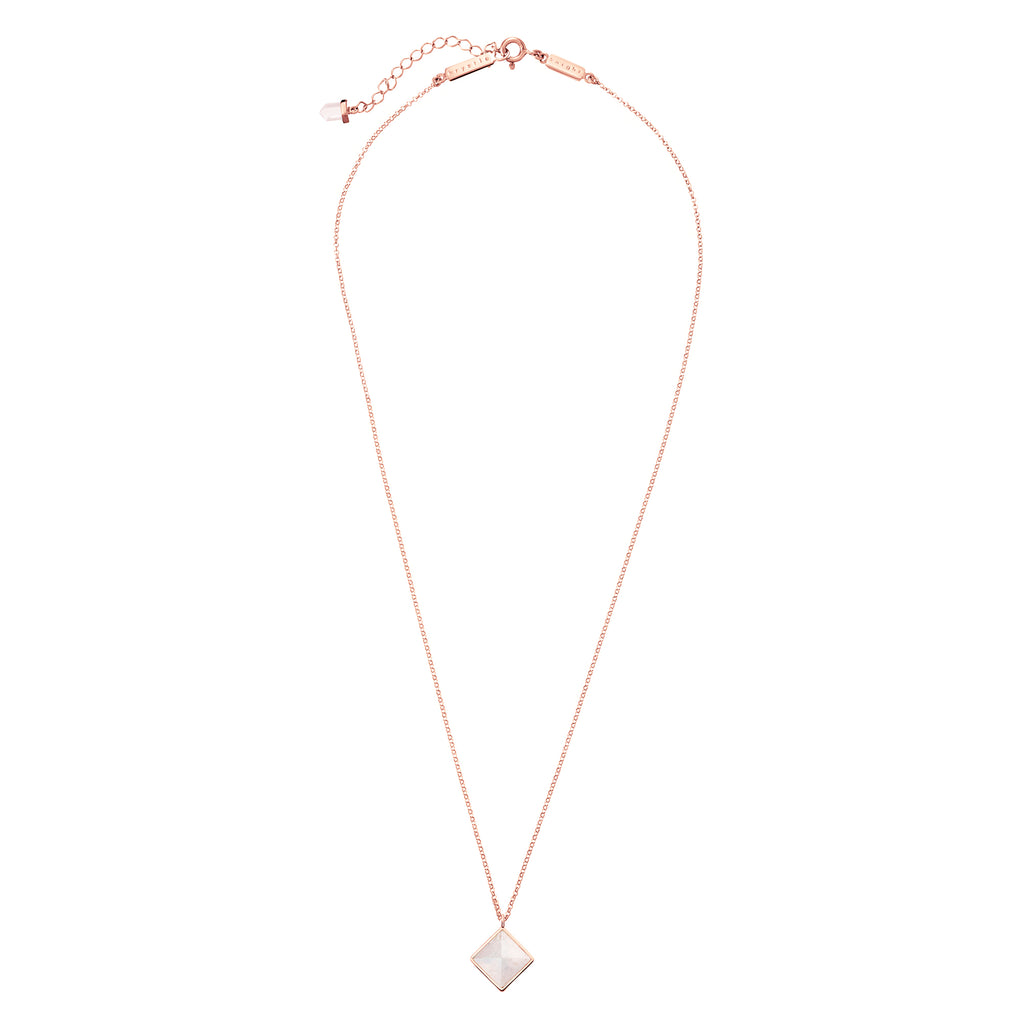 mini iridesent diamond cut necklace | rose quartz