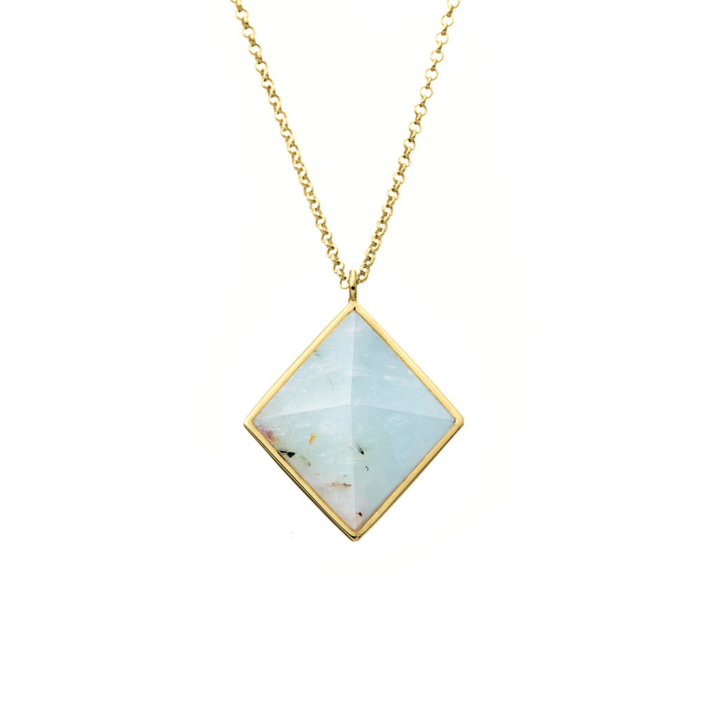 iridescent diamond cut necklace | aqua marine