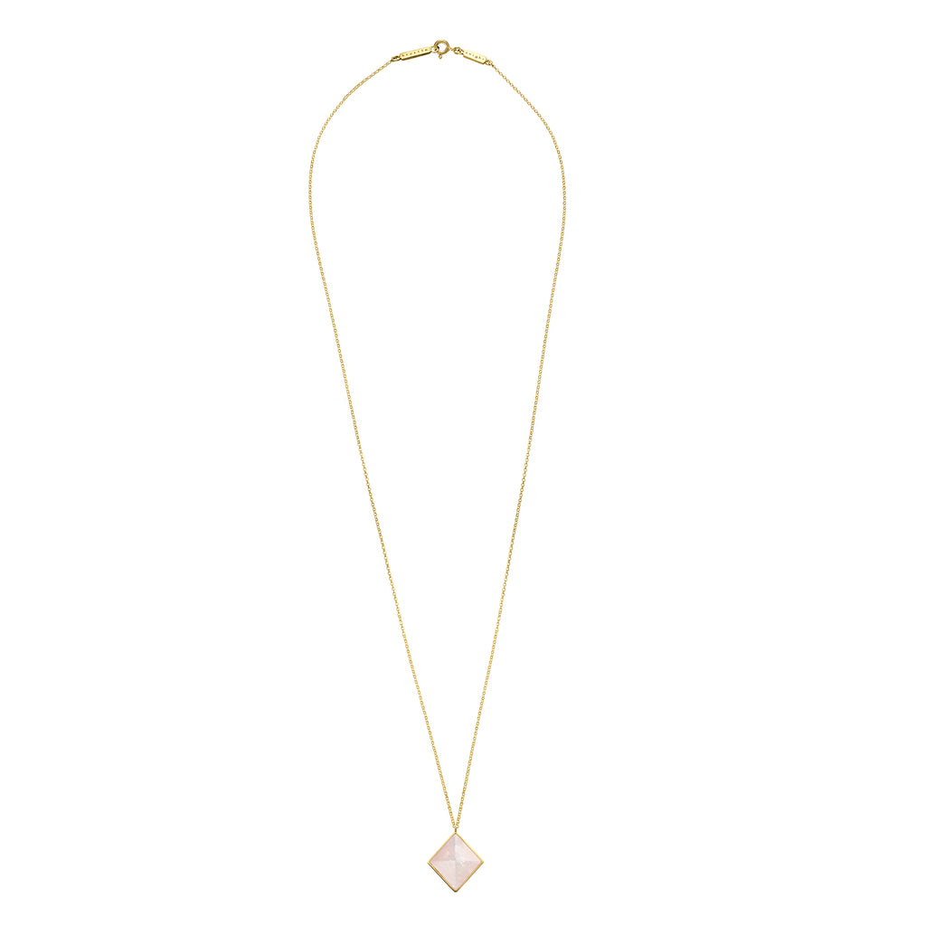 iridescent diamond cut necklace | rose quartz
