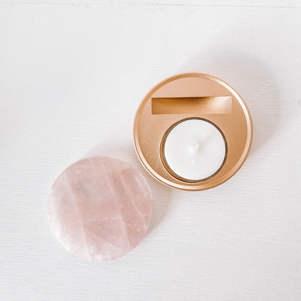 Exclaimed Kate Tealight Candle | Rose Quartz + Gold