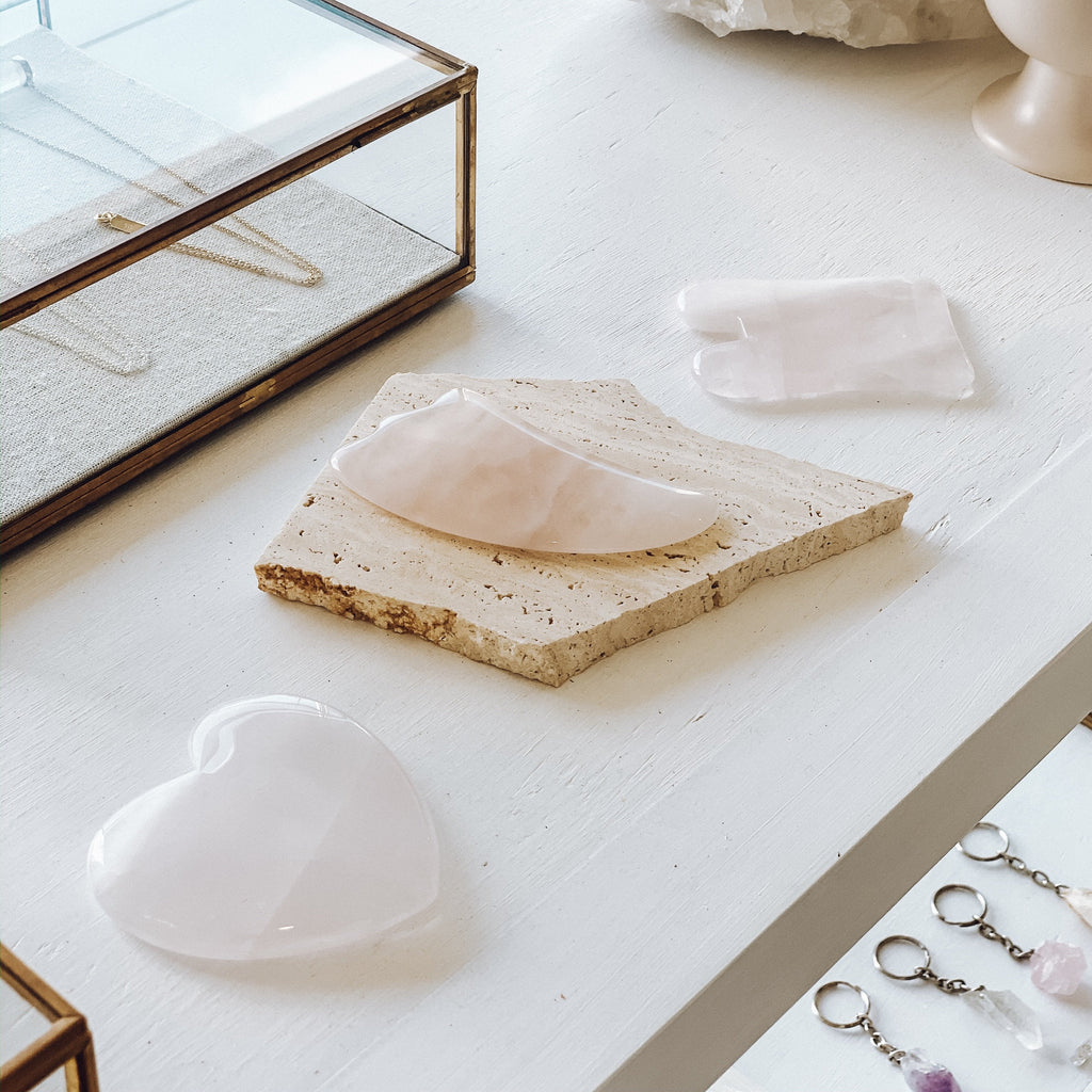 Gua Sha Facial Massage Tool | Rose Quartz | Teardrop