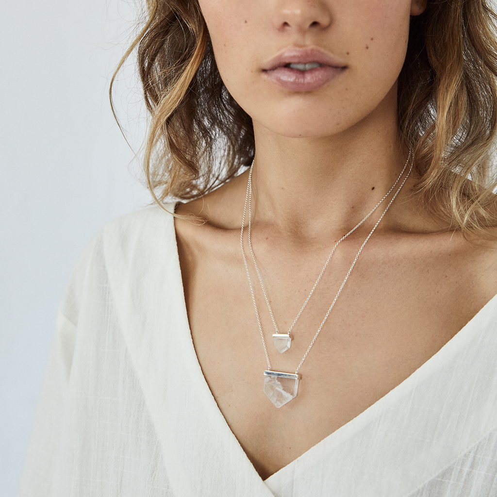 mini aurora crystal necklace | clear quartz crystal