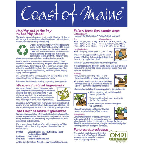 Back Label How to Use Instructions for Bar Harbor Premium Potting Soil by Coast of Maine - OMRI Certified for Organic Growers