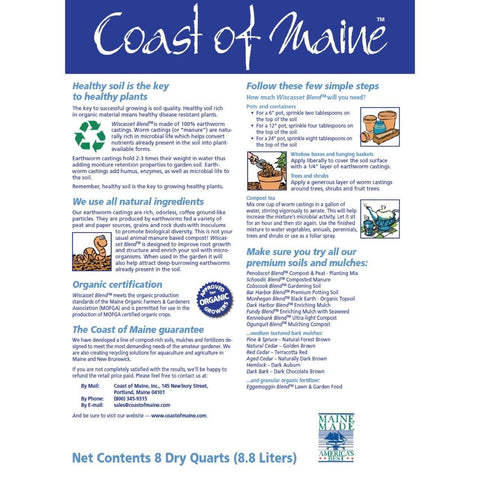 Worm Castings by Coast of Maine, Wiscasset Blend – Certified for Organic Growers, Back Label How to Use Instructions