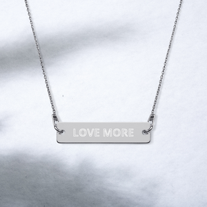 "iPositiv - ""Love More"" Engraved Silver Bar Chain Necklace"