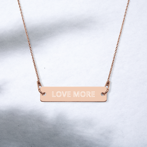 "Load image into Gallery viewer, iPositiv - ""Love More"" Engraved Silver Bar Chain Necklace"