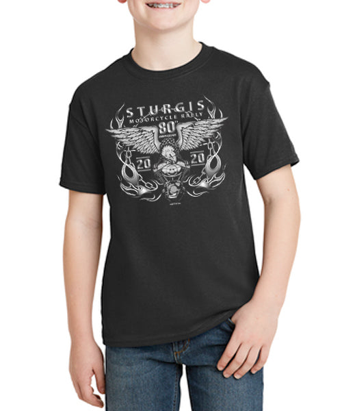 80th Sturgis Motorcycle Rally and Races Youth V Twin Shirt 2020