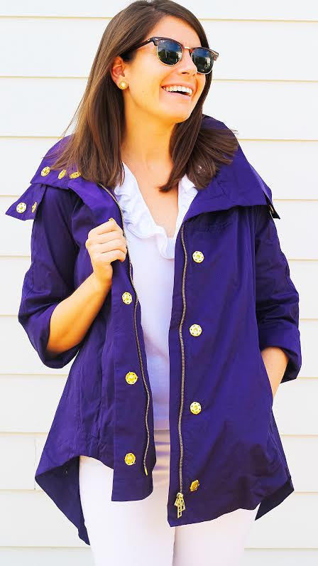 Savina Removable Hooded Jacket - Violet