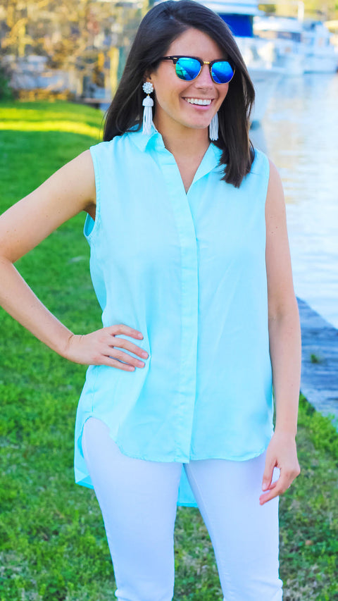 Vina Sleeveless Button Down - Aqua