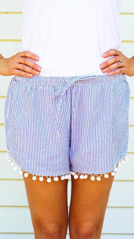 Seersucker Pom Pom Shorts - Blue + White