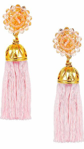 Coco Silk Tassel Earring - Light Pink
