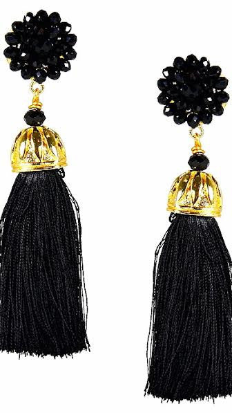 Coco Silk Tassel Earrings - Black