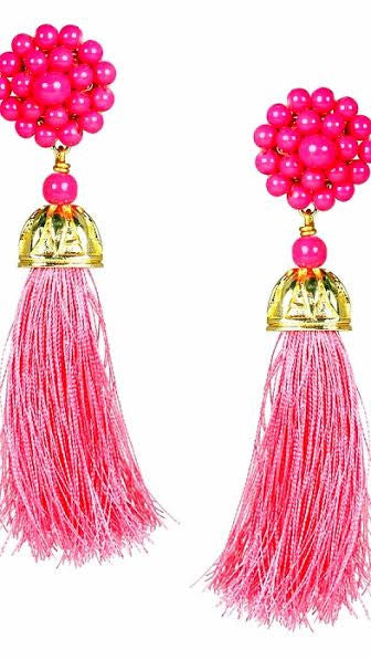 Coco Silk Tassel Earrings - Pink