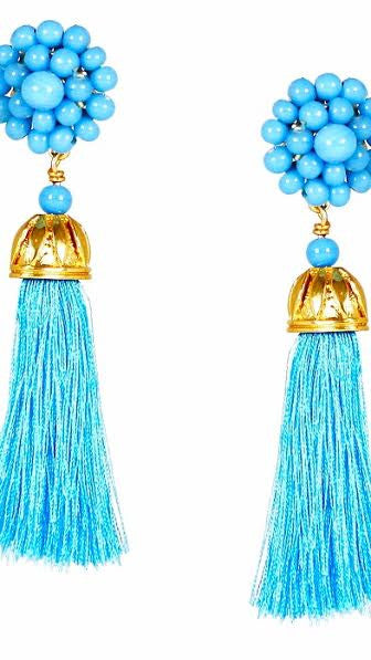 Coco Silk Tassel Earrings - Turquoise