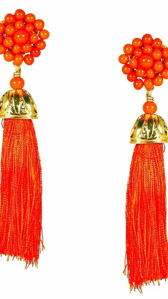 Coco Silk Tassel Earrings - Orange