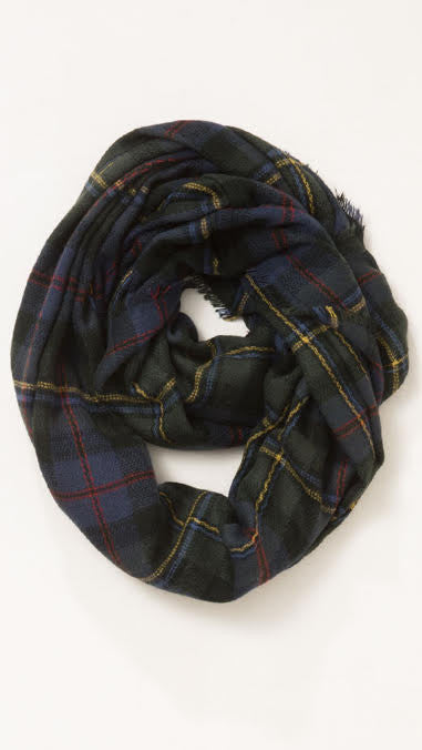 Wool Plaid Infinity Scarf - Hunter Green