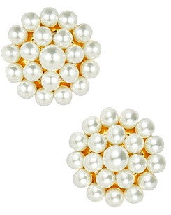 Button Stud Earrings - Pearl