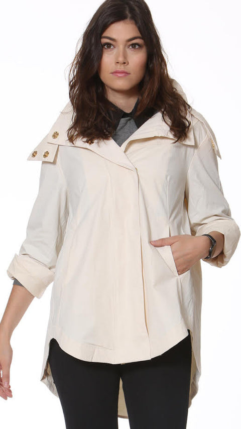 Savina Removable Hooded Jacket - Stone
