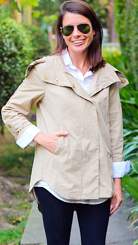 Savina Removable Hooded Jacket - Khaki