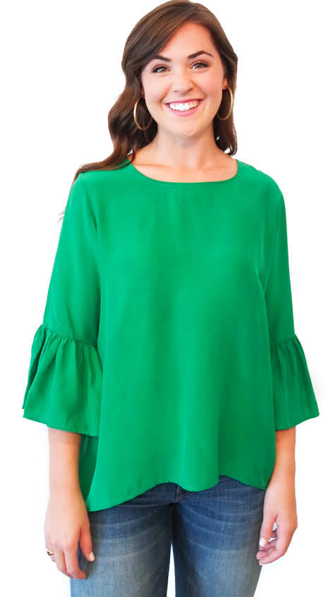 Ivy Silk Top - Green