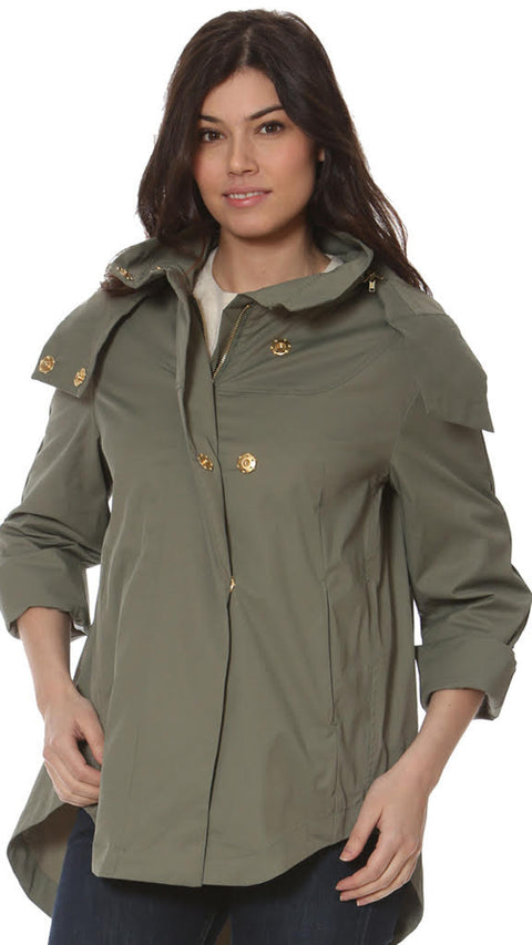 Savina Removable Hooded Jacket - Olive