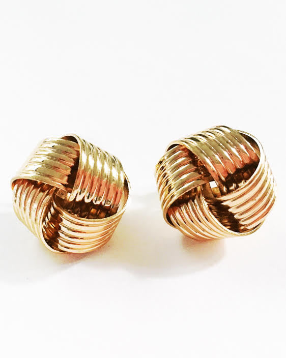 Basket Weave Earrings - Gold