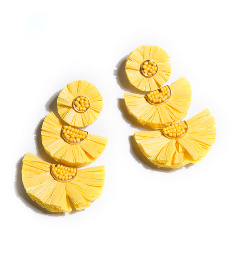 Santorini Raffia Earrings - Yellow