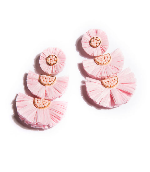 Santorini Raffia Earrings - Pink