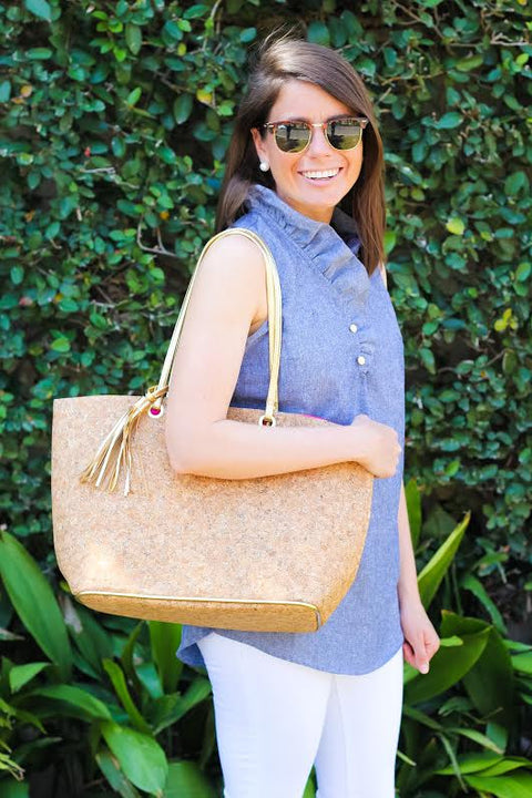 Carlton Cork Tote - Natural + Gold