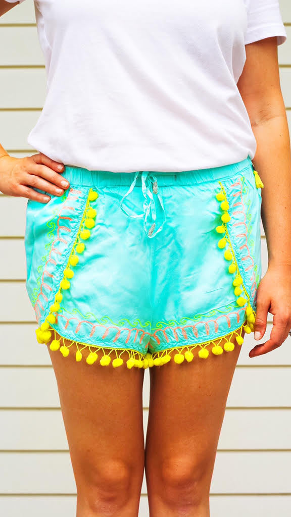 Pom Pom Embroidered Shorts - Turquoise + Neon