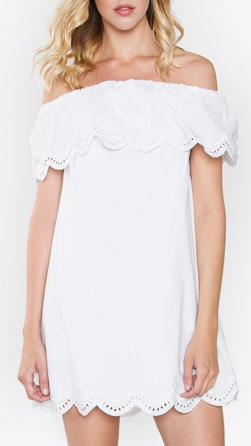 Mykonos Scalloped Off-the-Shoulder Dress - White