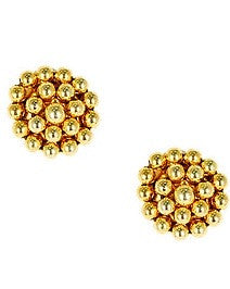 Button Stud Earrings - Gold