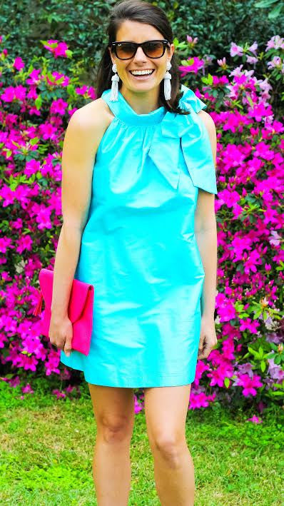 Silk Bow Dress - Aqua