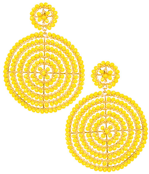 Disc Earrings - Yellow