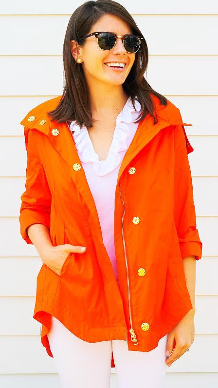Savina Removable Hooded Jacket - Hermès Orange