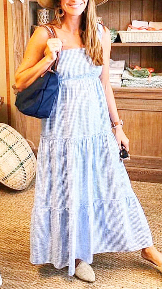Evelyn Tiered Maxi - Blue Gingham