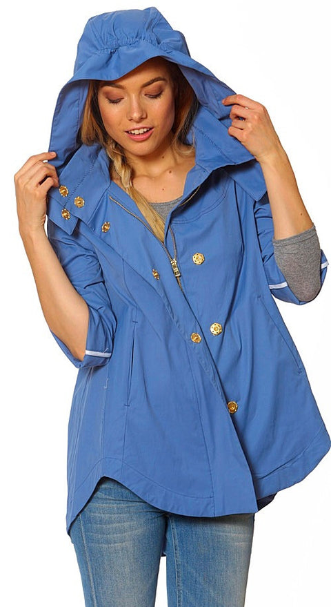 Savina Removable Hooded Jacket - Periwinkle