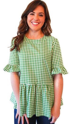 Betty B Top - Green Gingham