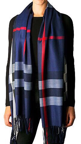 Plaid Print Scarf - Navy