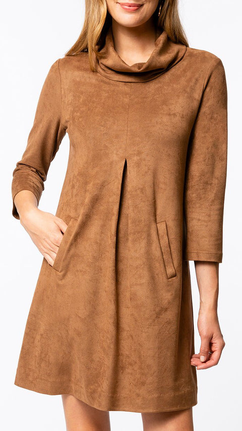 Kim Cowl Dress - Camel Suede