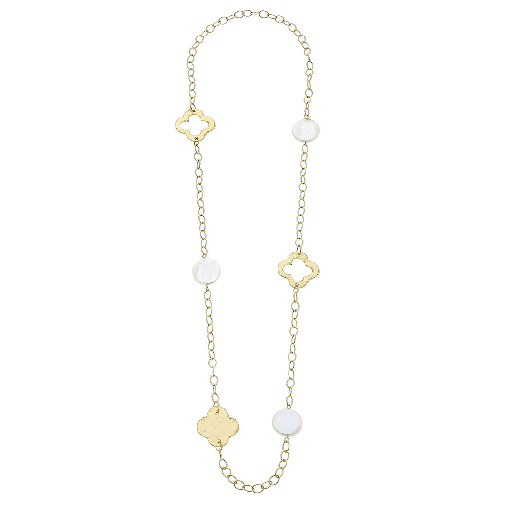Pearl and Clover Necklace - Gold