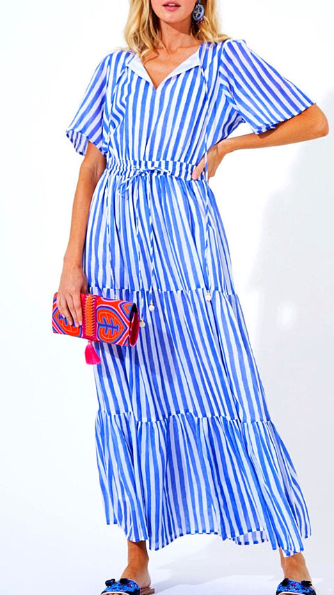Bar Harbour Striped Maxi - Blue + White