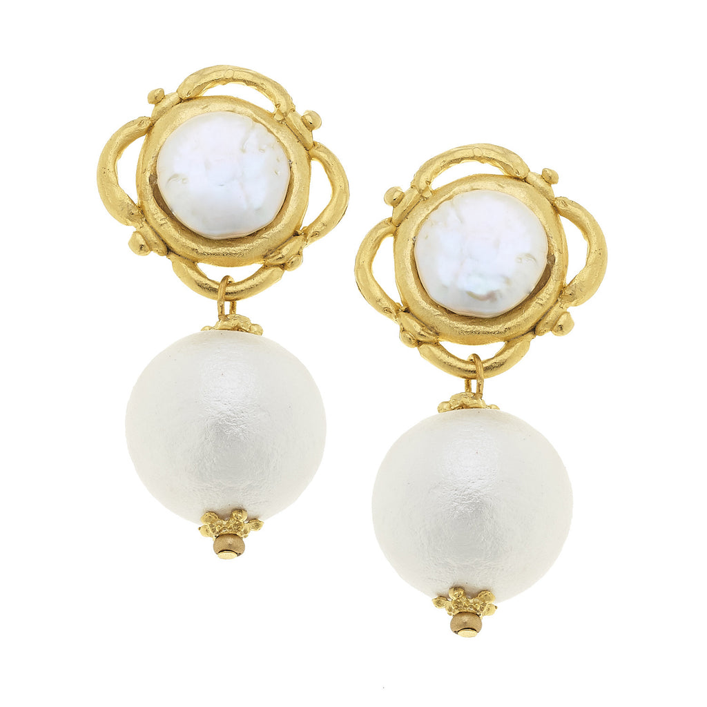 Juliette Pearl Clip Earrings - Gold