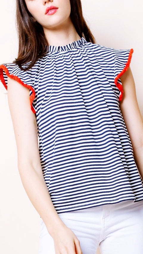 Freedom Stripe Flutter Sleeve Top - Navy + White