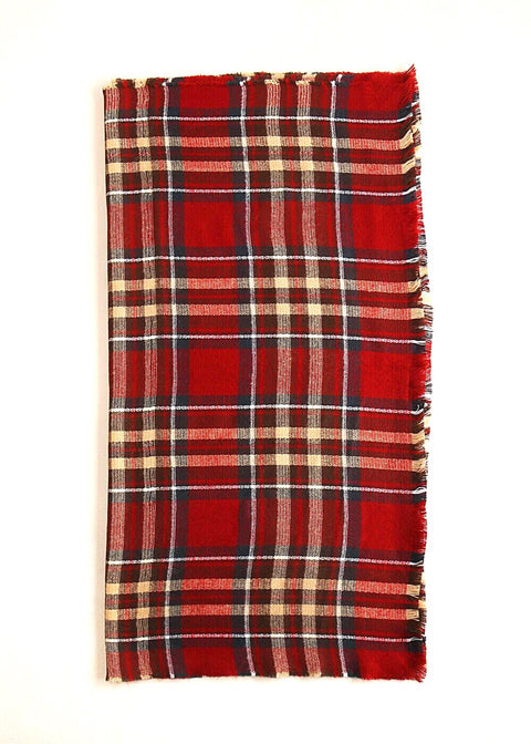 Plaid Scarf - Raisin