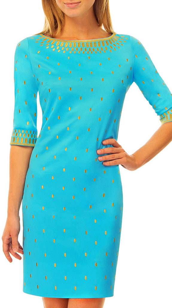 Tippins Embroidered Dress - Turquoise + Gold